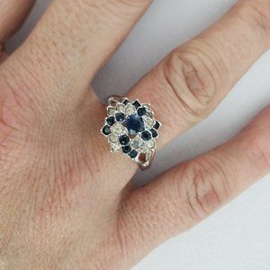 Blue & Silver Flower Ring Size 7.5